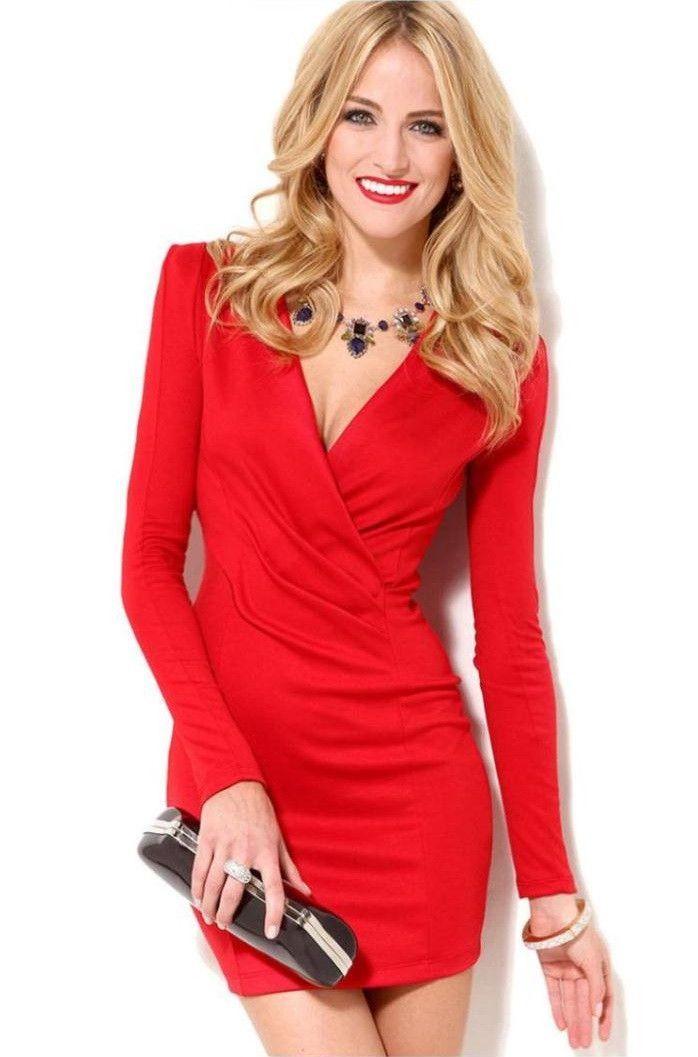 Deep V-Neck Long Sleeve Sexy Mini Semi Formal Dress | vestidos ...