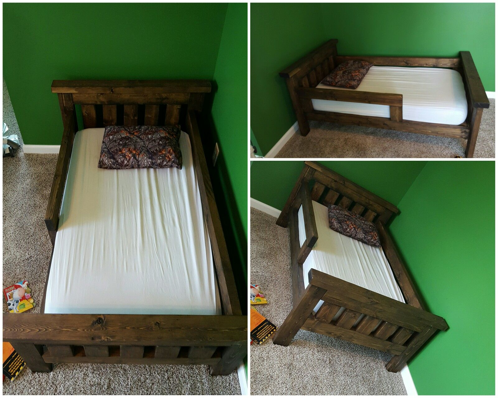 Perfect Rustic Farmhouse Toddler Bed Built From Ana White Plans. Added Guard Rails  + Adjusted Length