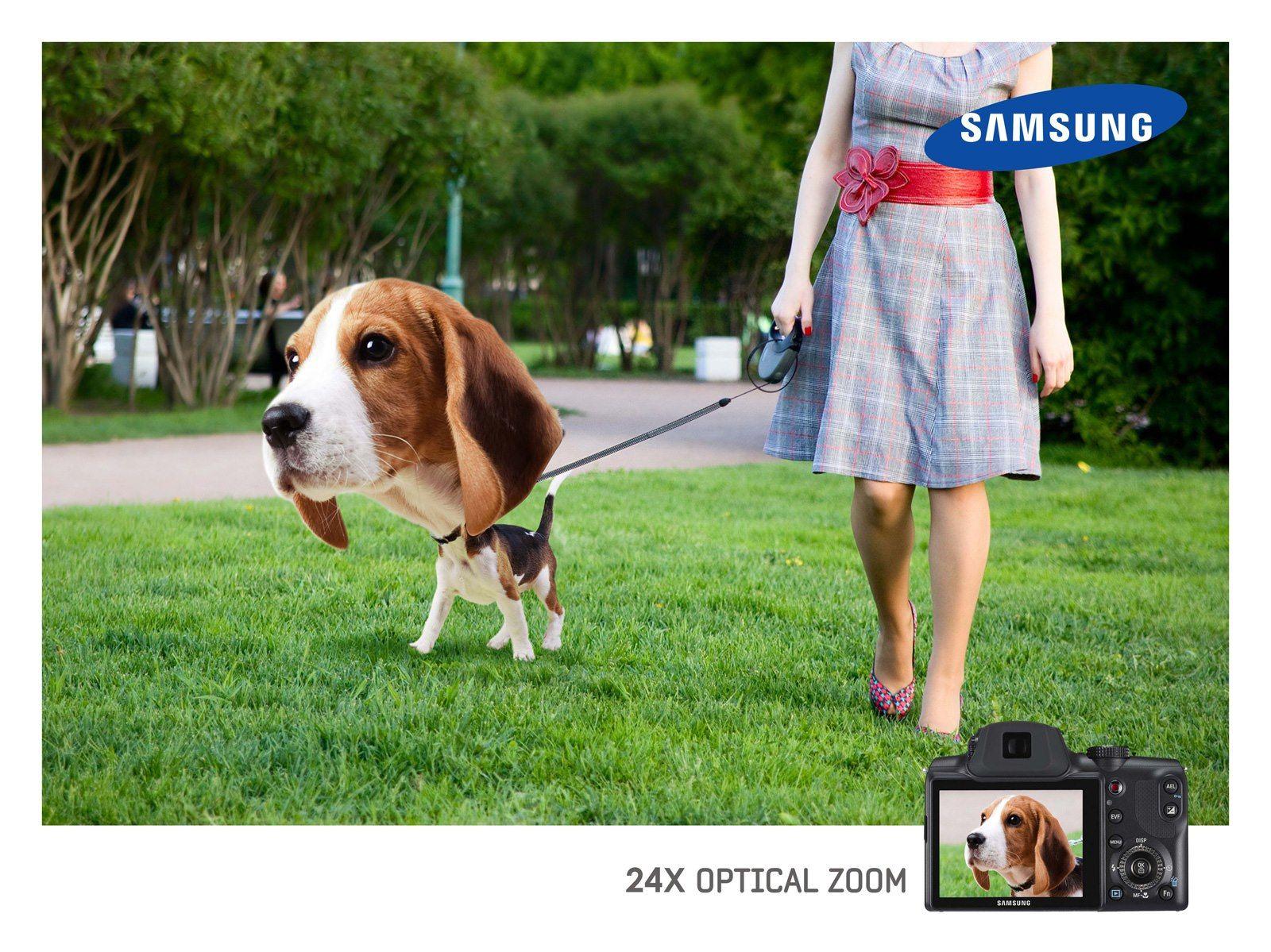 """Publicidade + Criatividade :     Anúncio feito pela Impact BBDO (Líbano), para a campanha """"24x optical zoom"""" da Samsung."""