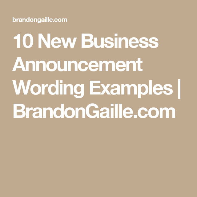 10 new business announcement wording examples brandongaillecom