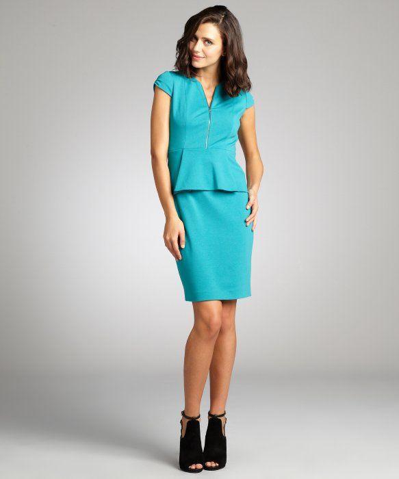Tahari : teal peplum 'Lanetta' stretch knit dress : style # 322707701