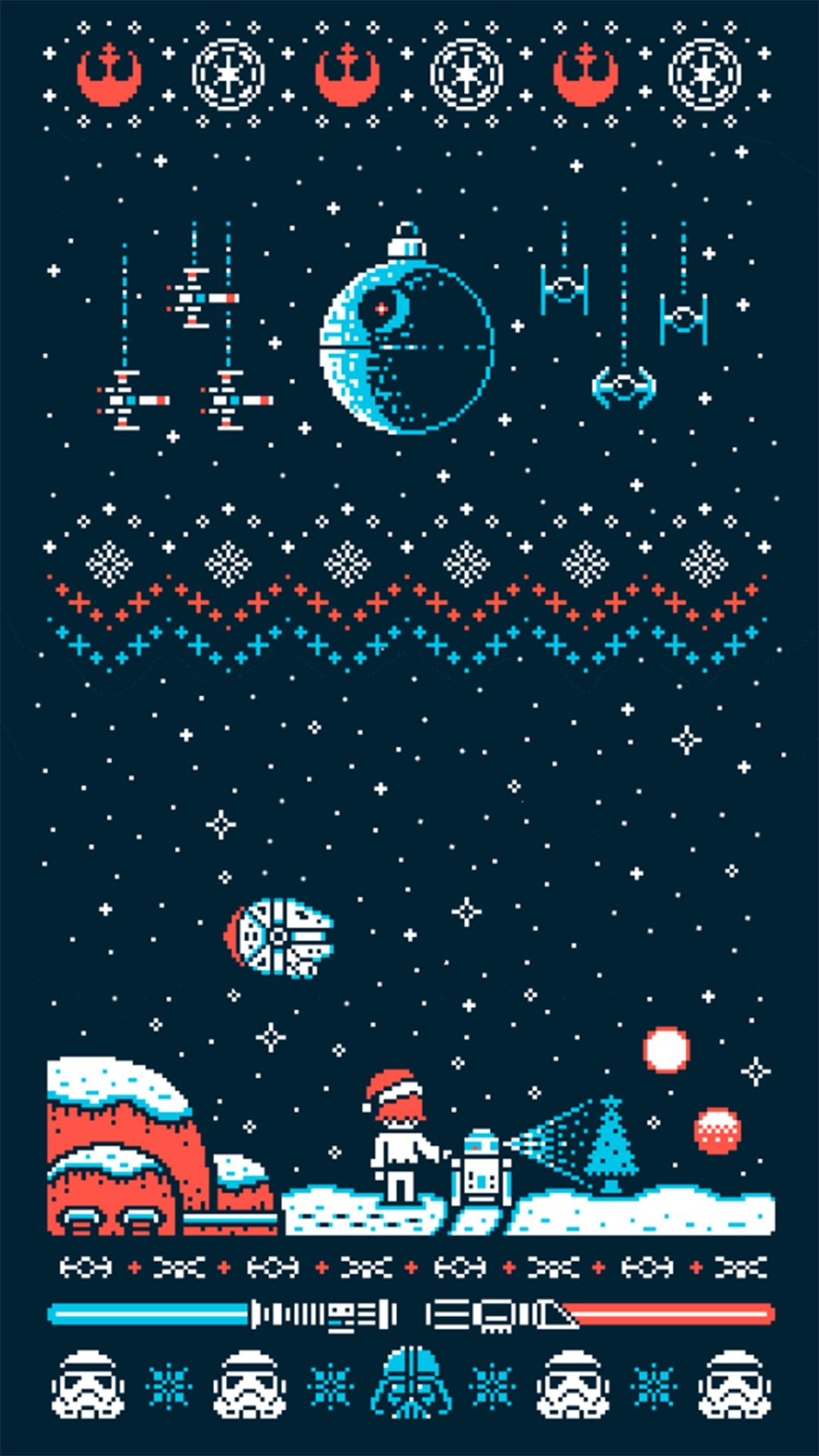 25 Free Christmas Wallpapers For Iphone Cute And Vintage Backgrounds Star Wars Wallpaper Iphone Star Wars Christmas Sweater Star Wars Wallpaper