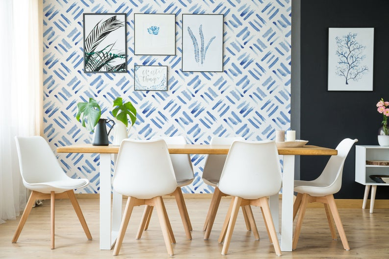 Watercolor Squares Removable Wallpaper Brush Strokes Etsy In 2020 Blue Moroccan Tile Removable Wallpaper Moroccan Tiles Pattern