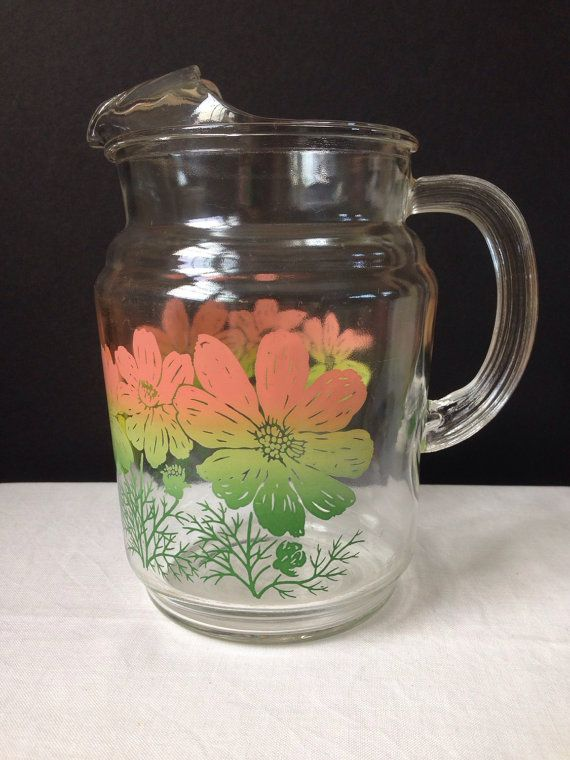 Federal Glass Pitcher Pink Green Flowers 40 Ounces Retro Floral Pitcher Vintage Glass Pitchers Green Flowers Glass Pitchers