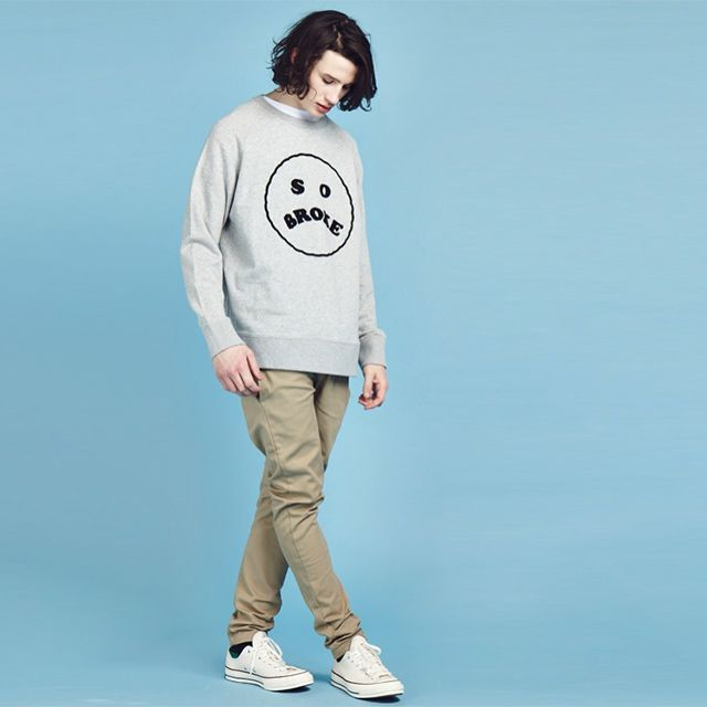 #GiftBuzz - So Broke Sweatshirt | Lazy Oaf Raised chenille 'So Broke' patch design features on the front chest of a regular fit loopback heather grey cotton sweatshirt | Fashion Spring Collection
