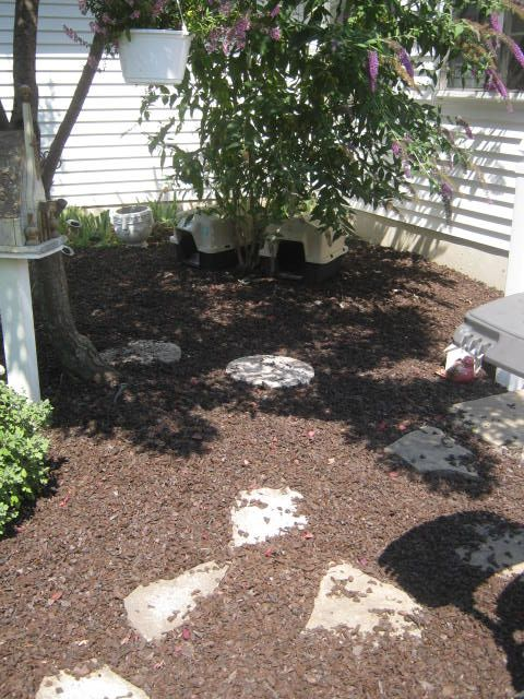 Rubber Mulch Project Behind House