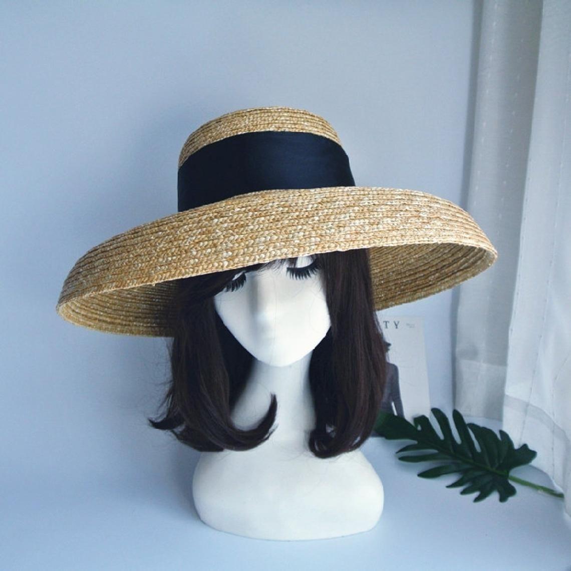 French Retro Summer Sun Hat Holiday Beach Black Big Bell Etsy Summer Straw Hat Summer Sun Hat Retro Summer