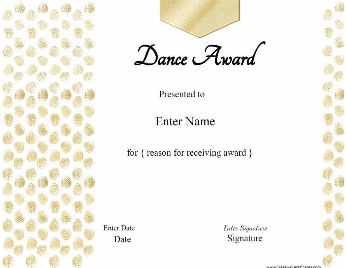 13 Dance Certificate Template Free Printable Word Pdf Throughout Dance Certificat Certificate Templates Templates Printable Free Gift Certificate Template Dance certificate templates for word