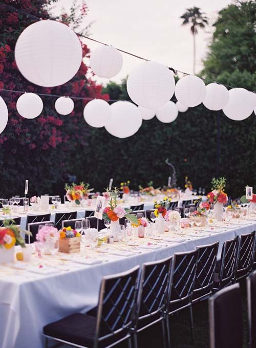 Great idea for an outdoor party! Hang string lights then attached varying sizes of paper lanterns. Shop both at .PartyLights.com. & Great idea for an outdoor party! Hang string lights then attached ...