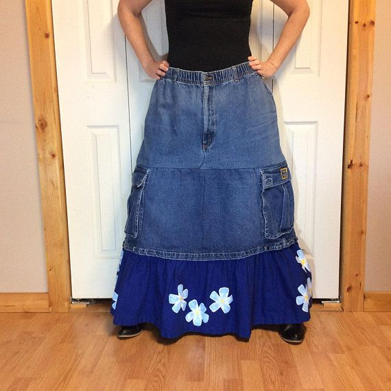 2a6cc7c717 4X Plus Size Denim Maxi Skirt, High Waisted Jean Skirt, Elastic Waist,  Extra Long Skirt with Pockets, Upcycled Recycled Women's Clothes
