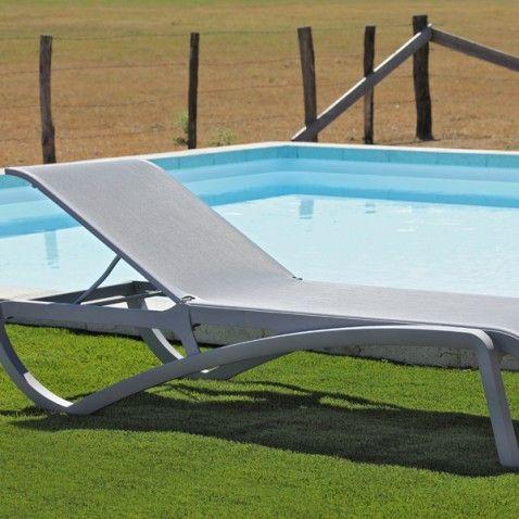 Chaise longue piscine Alizé Grise #bain #soleil #transat #fauteuil ...