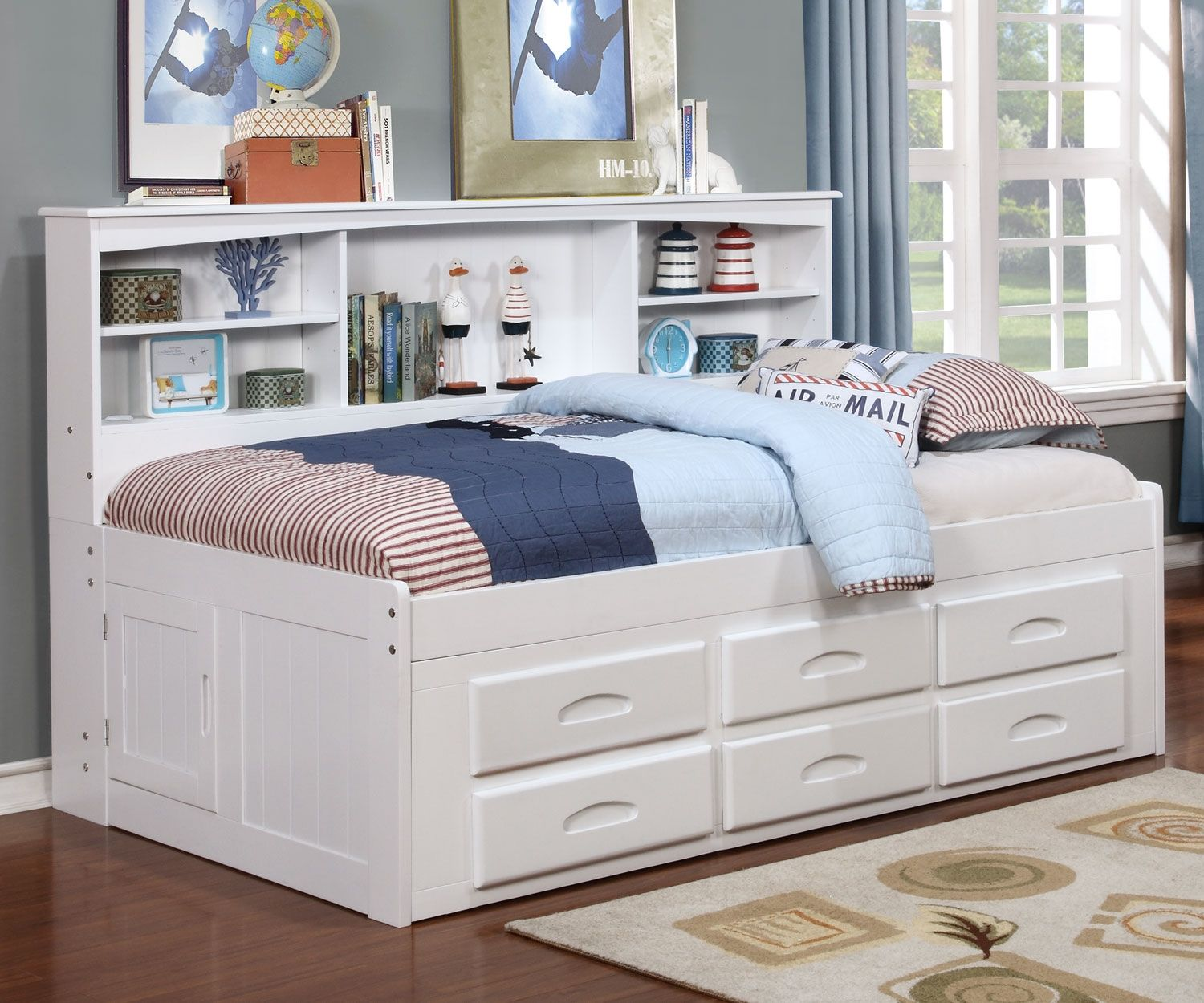 Twin Size Bookcase Captains Day Bed In White 0222 Day Beds