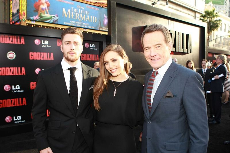 Mega stars Bryan Cranston, Elizabeth Olson and Aaron Taylor-Johnson celebrate the return of Godzilla to the big screen at the Los Angeles film premiere, sponsored by LG Electronics and the new LG G Flex