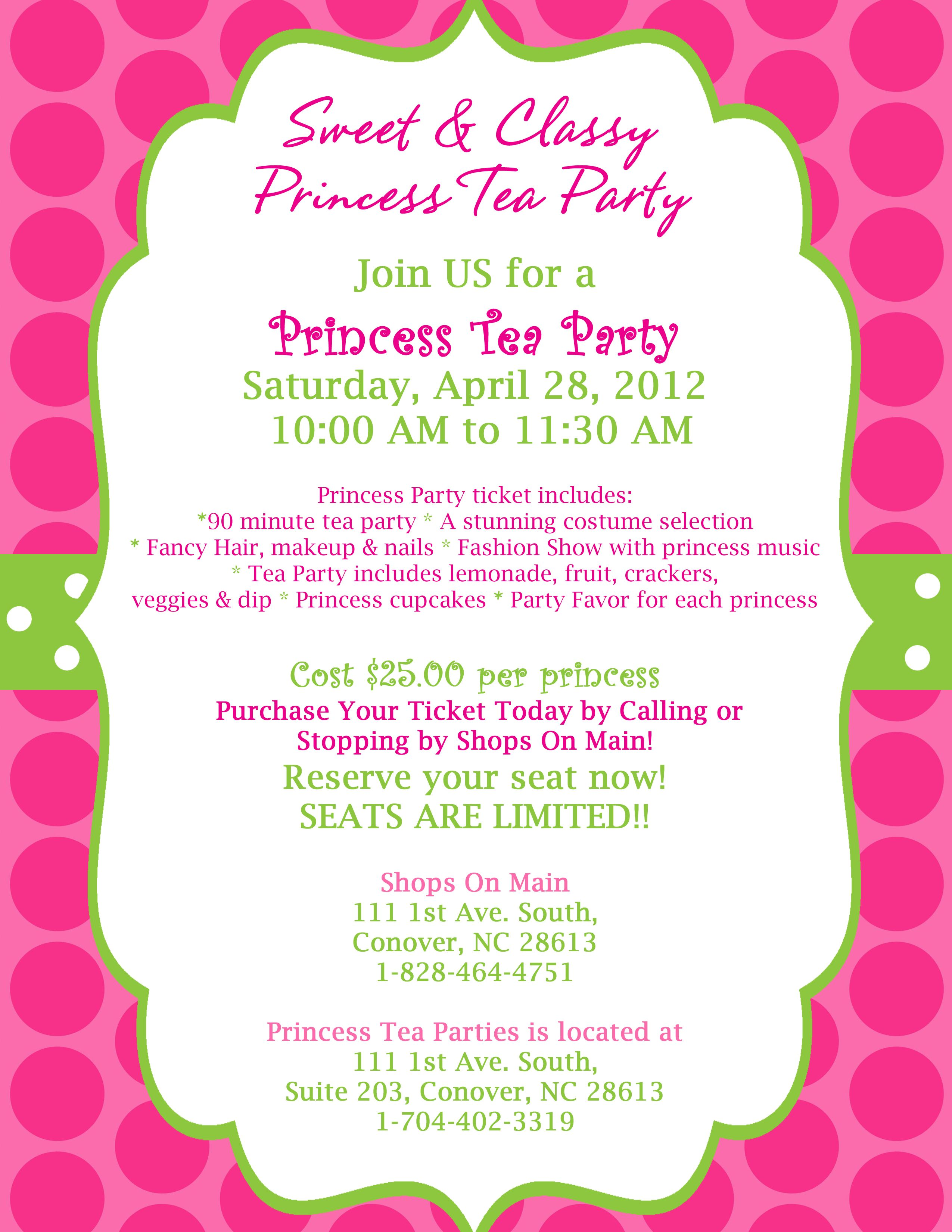 Check out our next Princess Tea Party!! Tickets are now on Sale ...