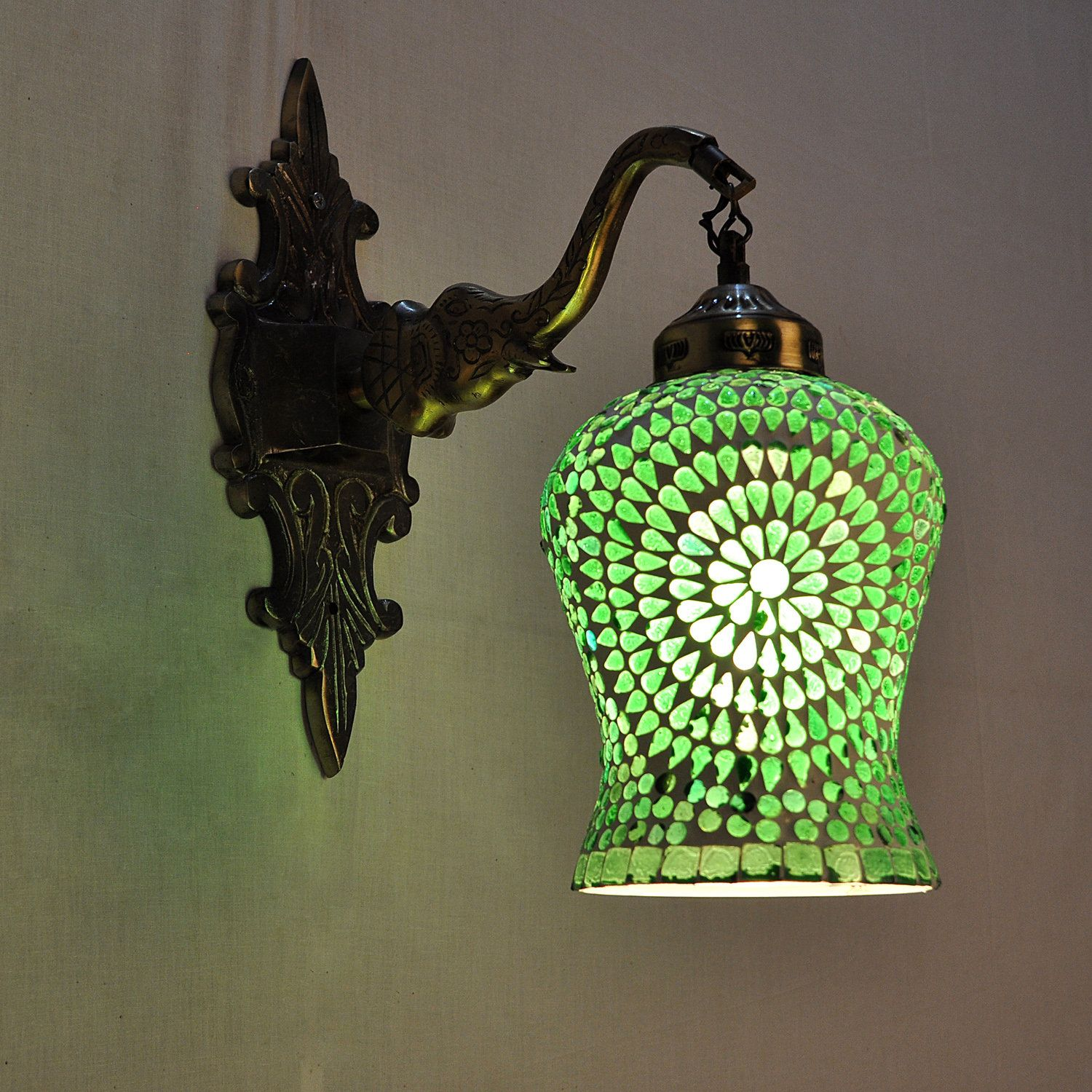 Antique Style Glass Lamps Wall Light Outdoor Green Lighting Home