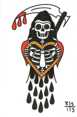 American Traditional Grim Reaper : american, traditional, reaper, Traditional, Reaper, Tattoo, Google, 검색, Tattoo,, Design,, Flash