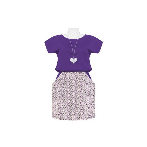 Violet Contrast Floral Pocketed Dress ❤ liked on Polyvore featuring dresses, pocket dress, floral dresses, floral pattern dress, flower print dress and purple floral print dress