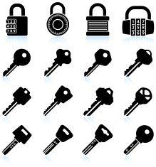 Modern Lock and Keys black & white vector icon set vector art illustration