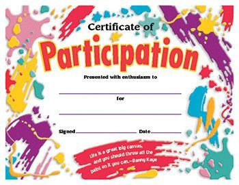 Certificate Participation Award (Set Of 2)  Printable Certificate Of Participation