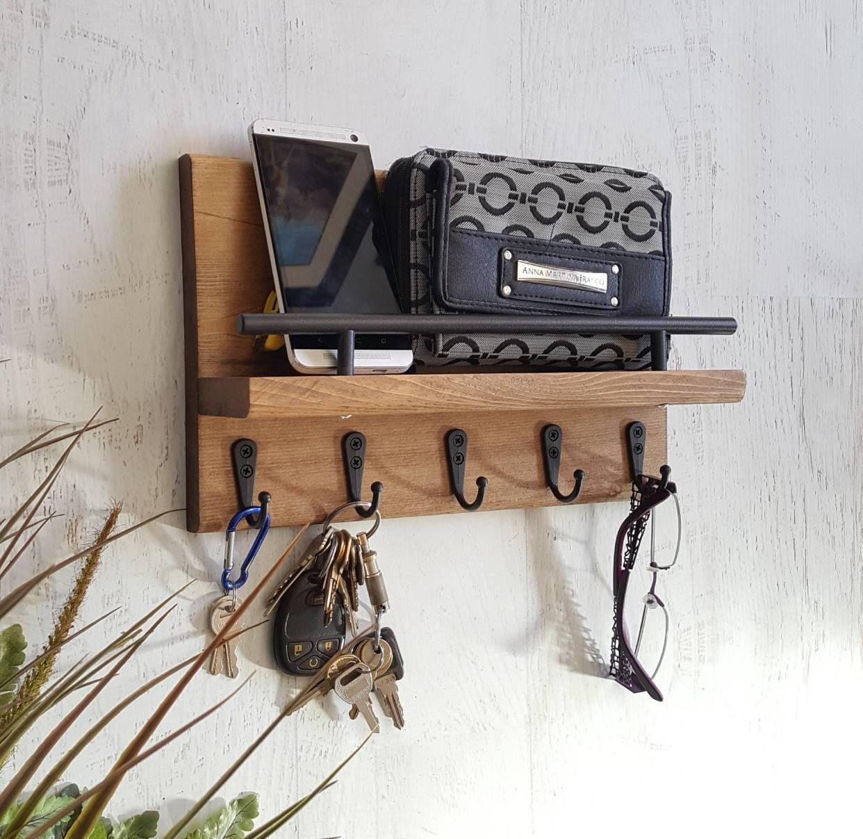 Key And Mail Shelf, Entryway Shelf, Key Rack Mail Holder, Mail Storage,