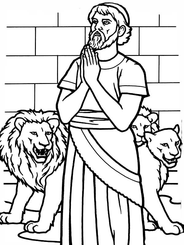 Daniel Pray To God In Daniel And The Lions Den Coloring Page Daniel And The Lions Lion Coloring Pages Sunday School Coloring Pages