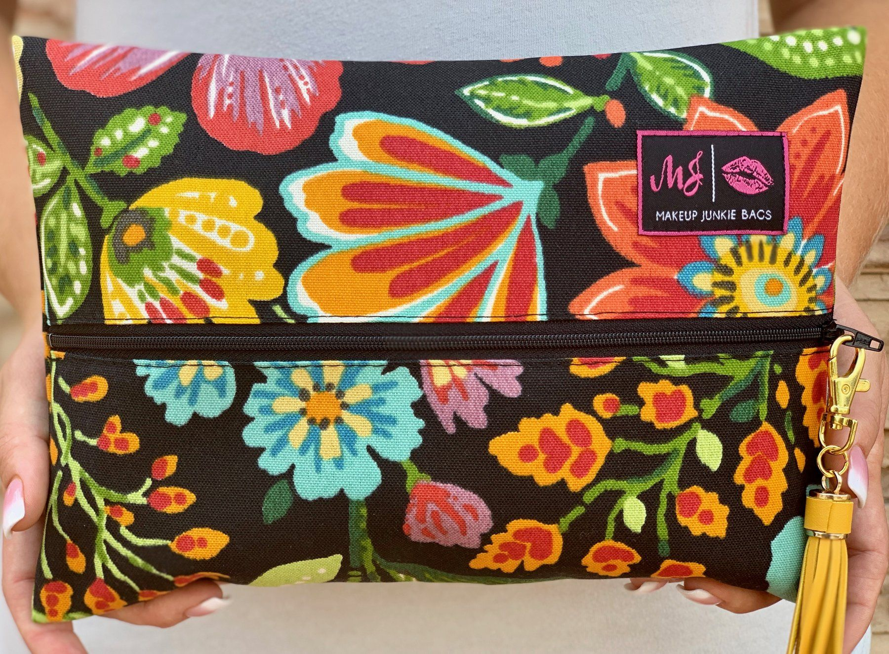 Black Floral Makeup Junkie Bag (With images) Black