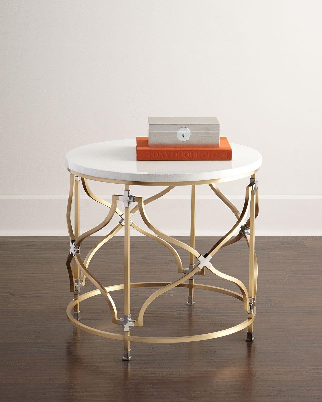 Althea side table brasswhite neiman marcus 边几 pinterest