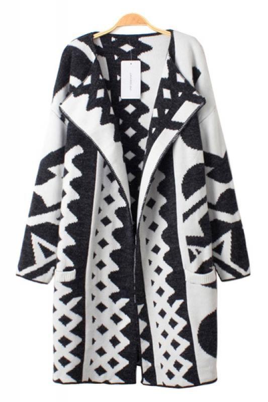 original black and white pattern hooded women/'s geometric