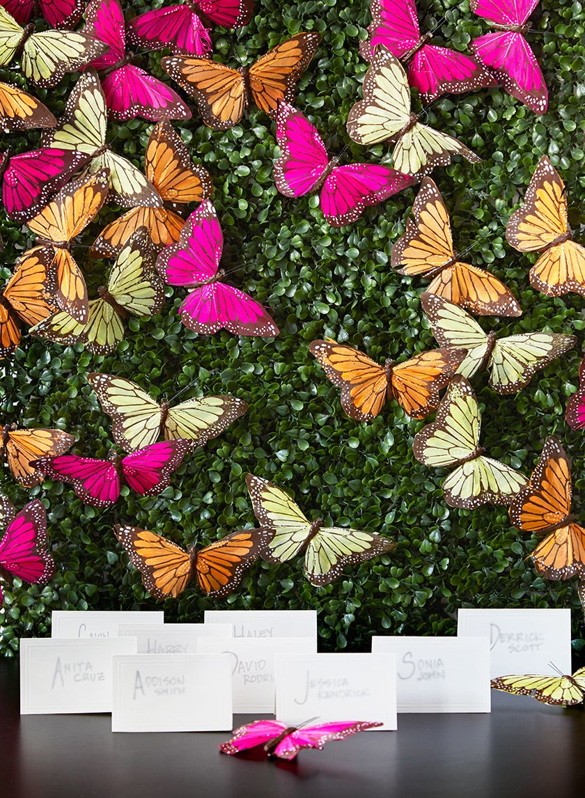 20 x 20in Boxwood Mat Butterfly wedding, Paper flowers