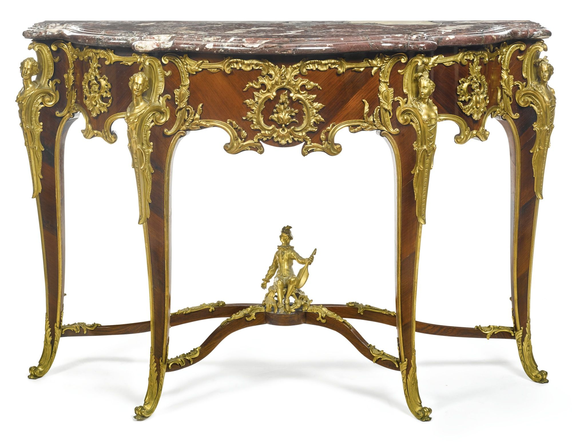 Louis xv dining table - Fran Ois Linke French 1855 1946 A Louis Xv Style Gilt Bronze Mounted Kingwood Console
