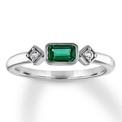 f48d0f6ea9c50 Lab-Created Emerald Ring Lab-Created Sapphires Sterling Silver ...