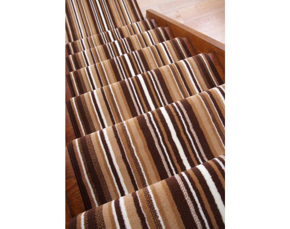 Best Lima 459 Brown Striped Stair Carpet Runner 50Cm 1Ft 8 640 x 480