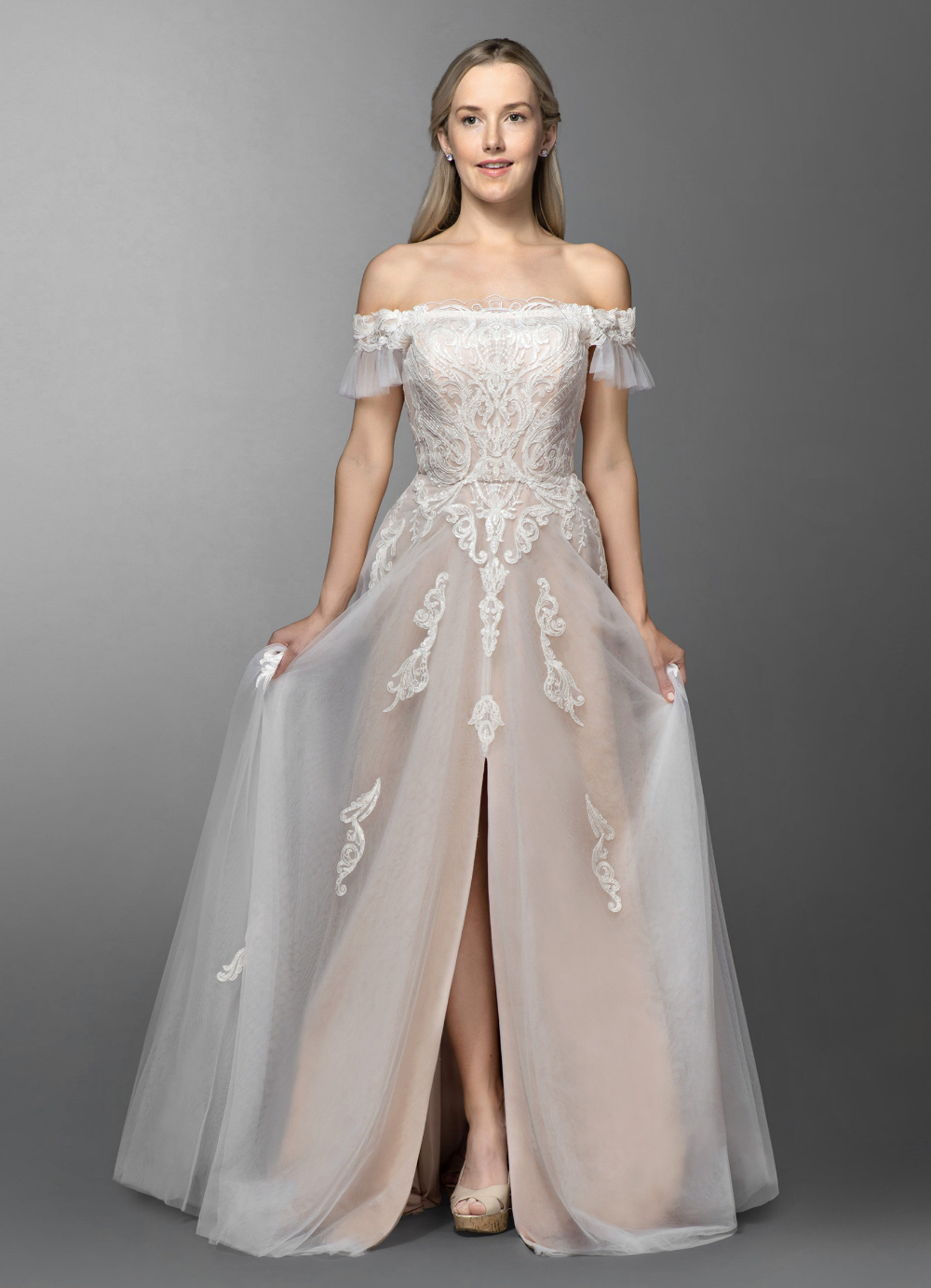 Azazie Lange BG Wedding Dress Diamond White/Champagne