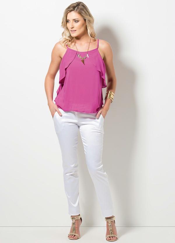 Blusa de Alça com Babados (Pink)