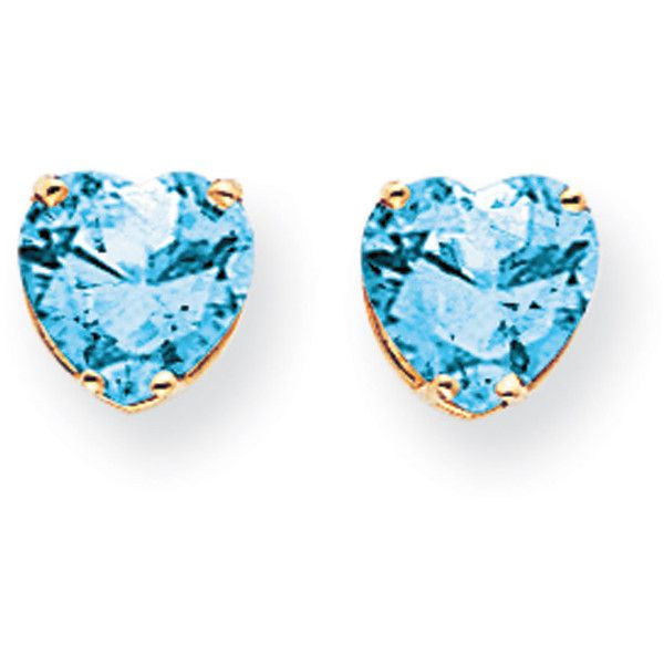 14k Yellow Gold 8mm Heart Blue Topaz Earrings ($115) ❤ liked on Polyvore featuring jewelry, earrings, gold, blue topaz earrings, 14k earrings, gold heart jewelry, gold earrings and gold jewelry