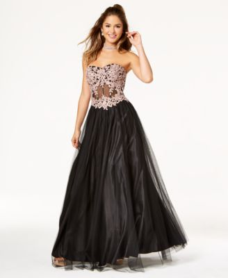 d9441cb94 Blondie Nites Juniors' Embroidered Corset Gown | macys.com | Prom ...