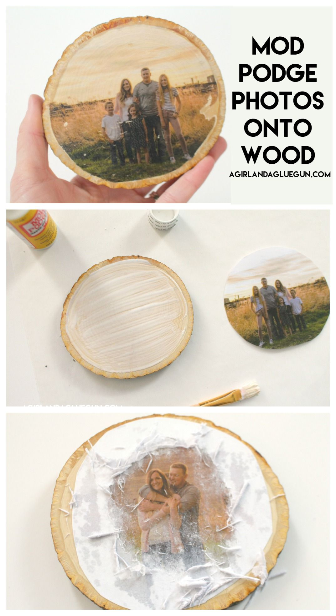 How to transfer photos on wood -4 different ways - A girl and a glue gun