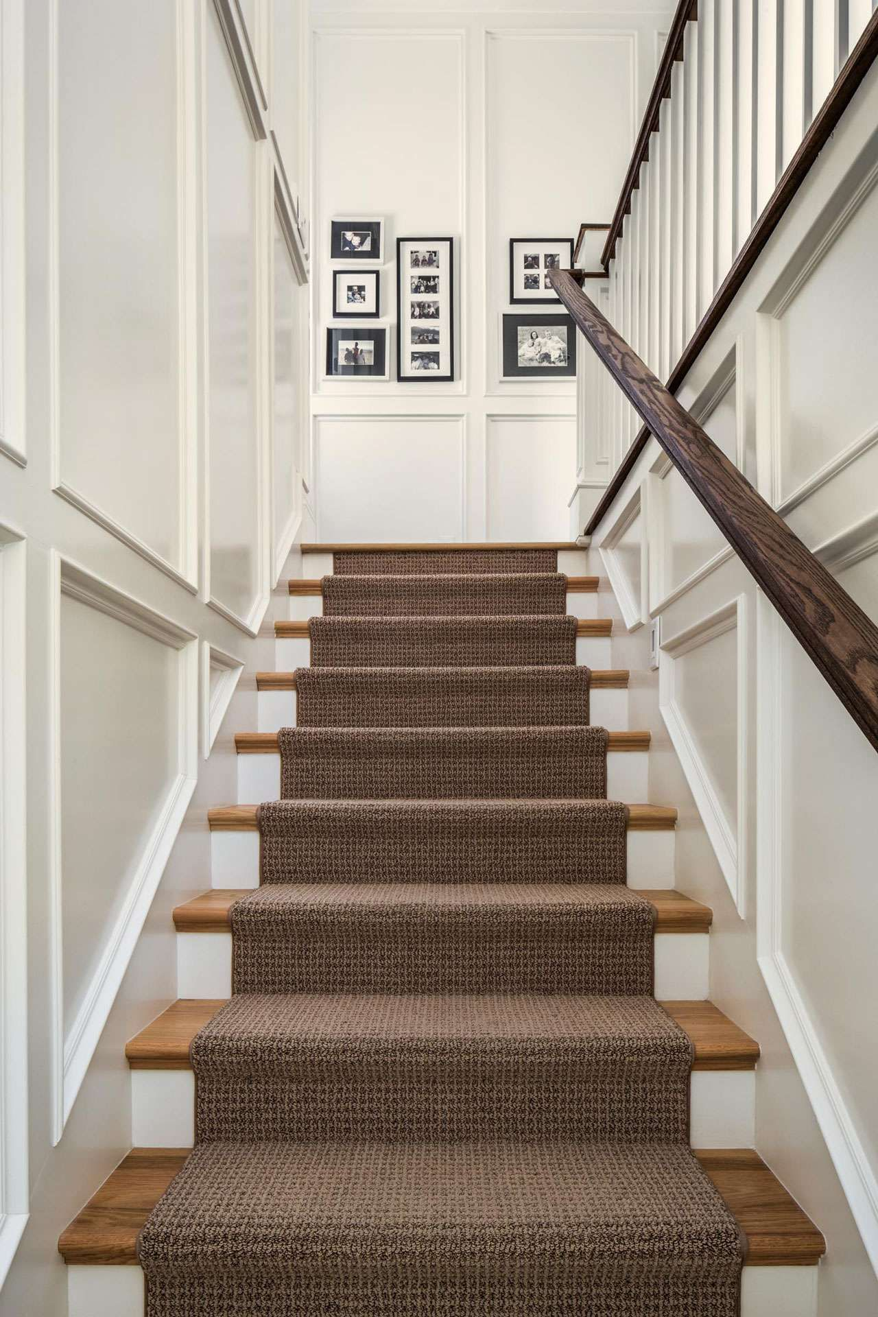Textured Brown Runner On Wood And White Stairs Flooring For Stairs Stairs Trim Staircase Molding