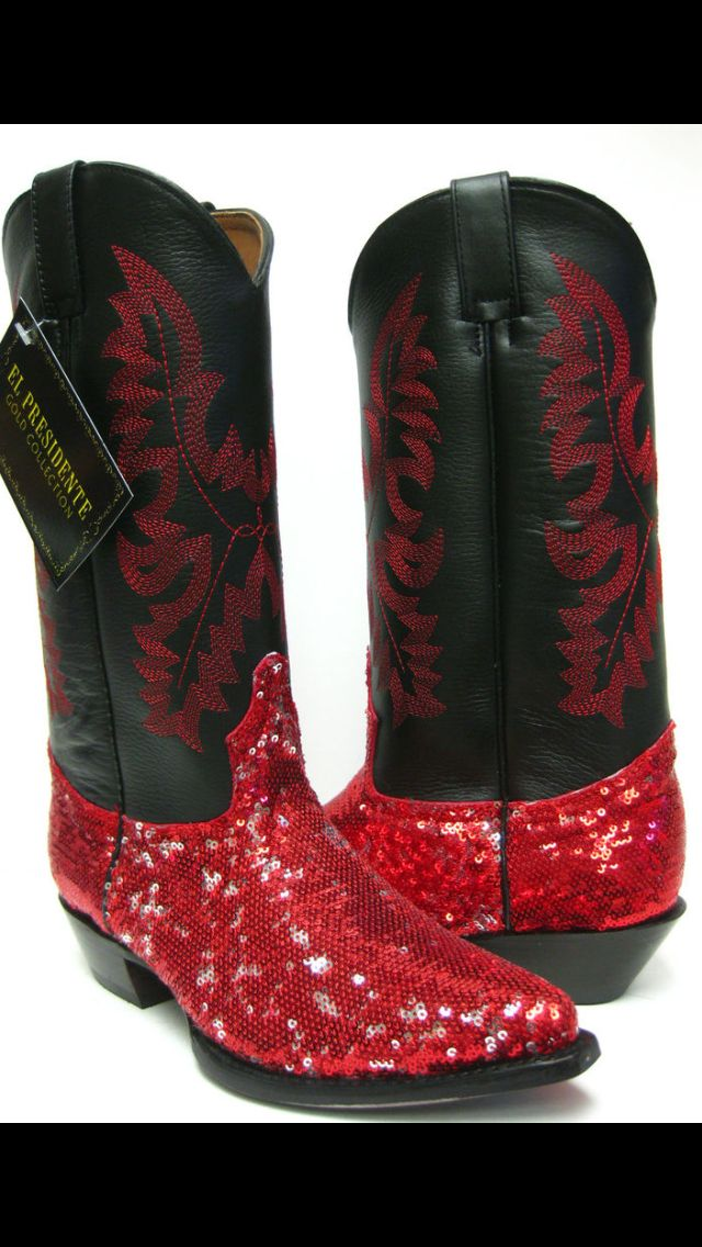 Red sequin cowboy boots? Perfect for a