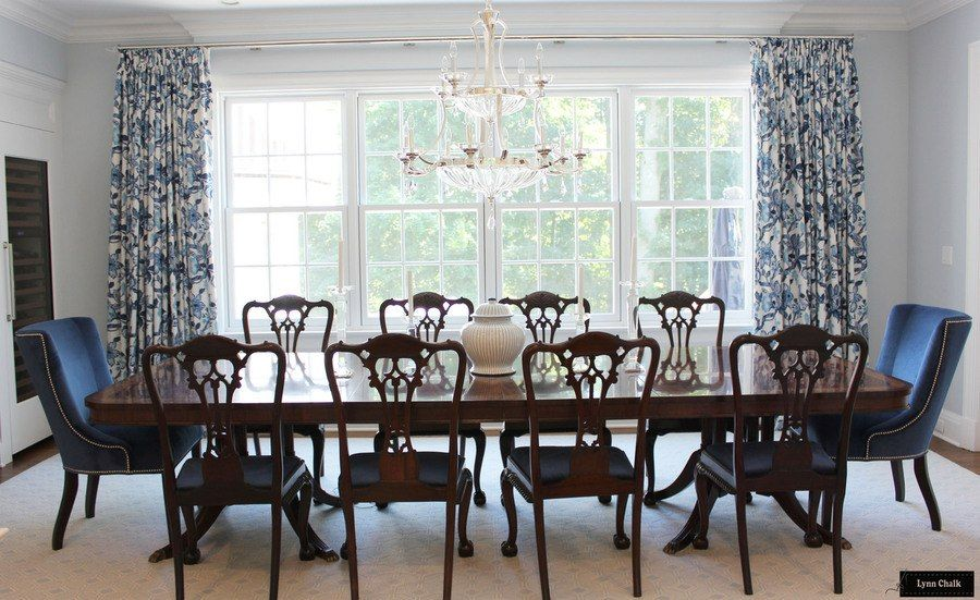 Schumacher Huntington Gardens Drapes In Dining Room Shown In Bleu Marine Comes In Other Colors Dining Room Windows Custom Drapes Large Window Curtains