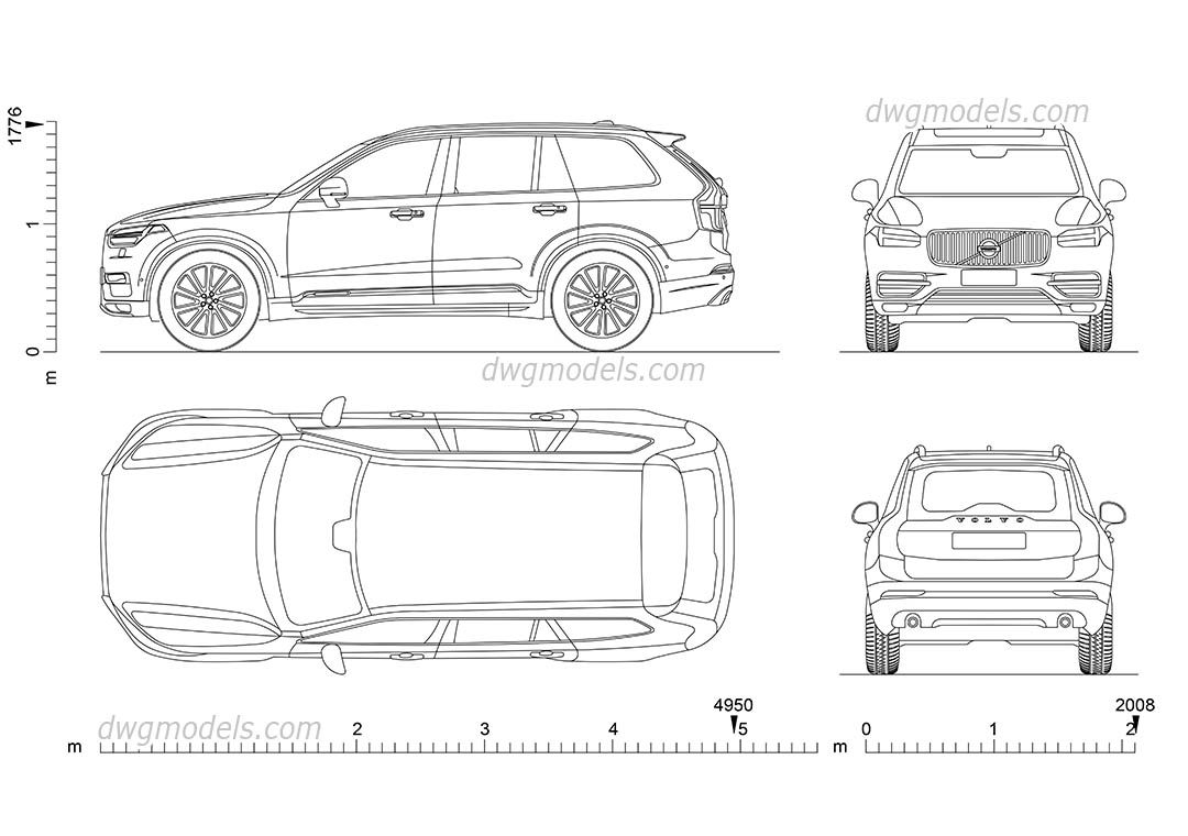 Volvo xc90 2015 cad blocks free dwg file cars pinterest volvo xc90 2015 cad blocks free dwg file malvernweather Gallery