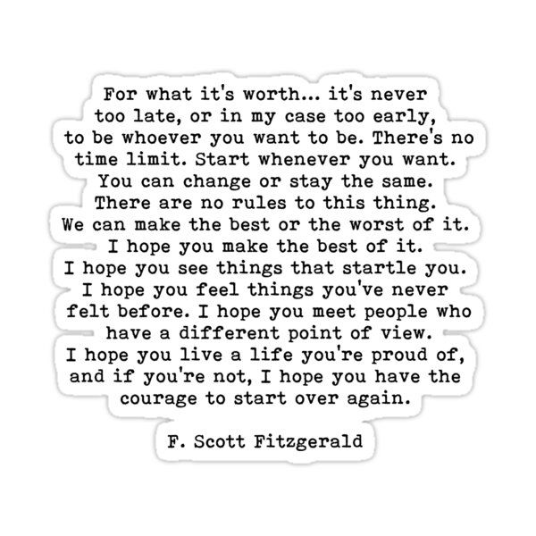 For What It's Worth, F Scott Fitzgerald Quote Sticker by PrettyLovely