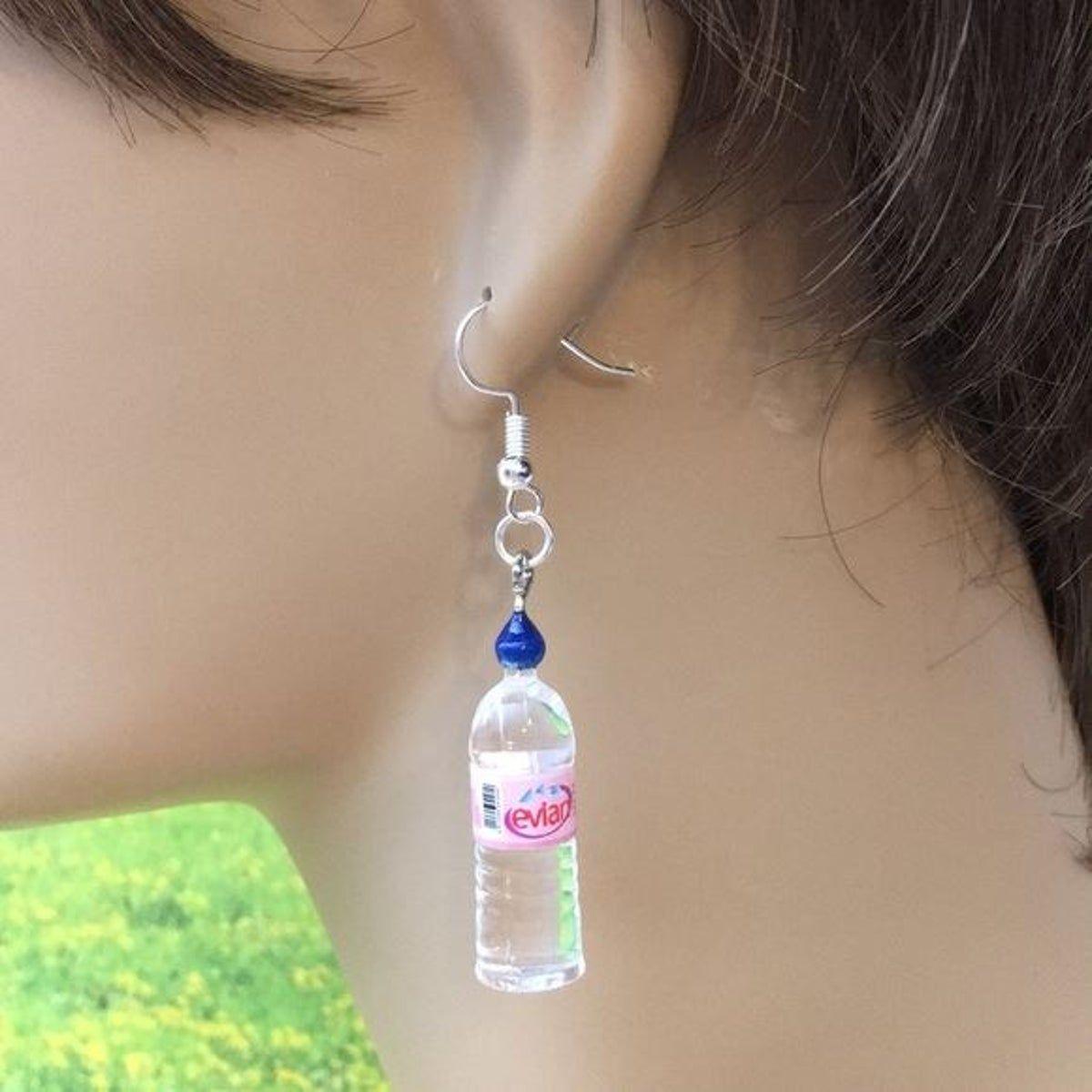 Evian Water Bottle Earrings In 2020 Bottle Earrings Evian Water Bottle Earrings