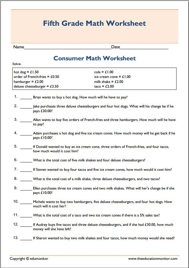 Spending money consumer math worksheet pdf – Free Pdf Math Worksheets