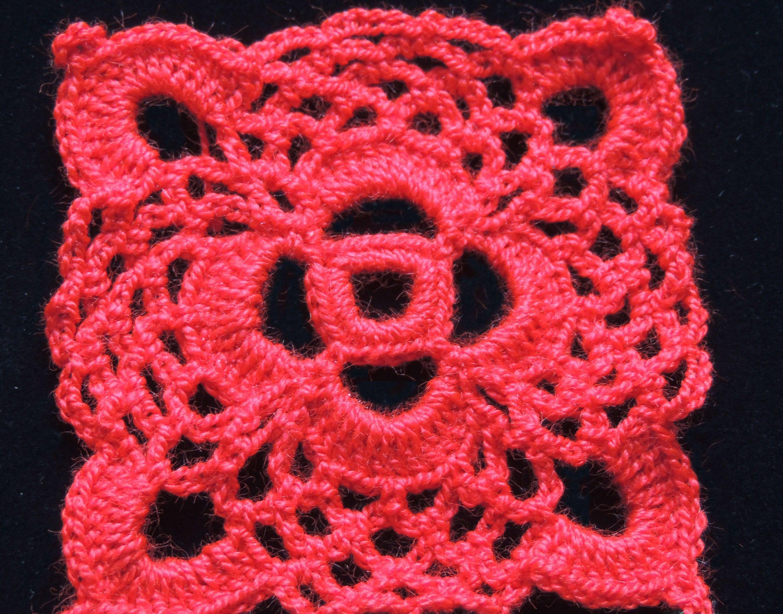Crochet : Motivo Cuadrado # 1. Parte 1 de 2 | cuadrados de la abuela ...