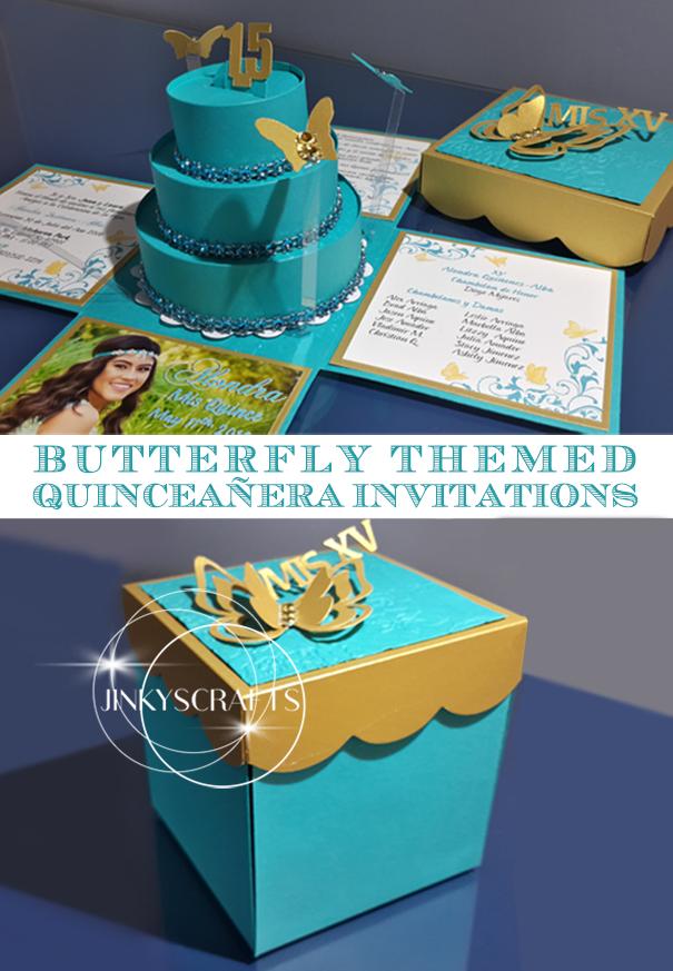 Laura's Quinceañera DIY Butterfly Themed Invitations