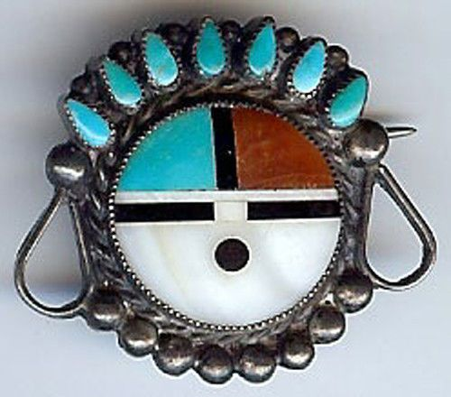 VINTAGE ZUNI INDIAN STERLING INLAID TURQUOISE CORAL SHELL ONYX SUN GOD FACE PIN
