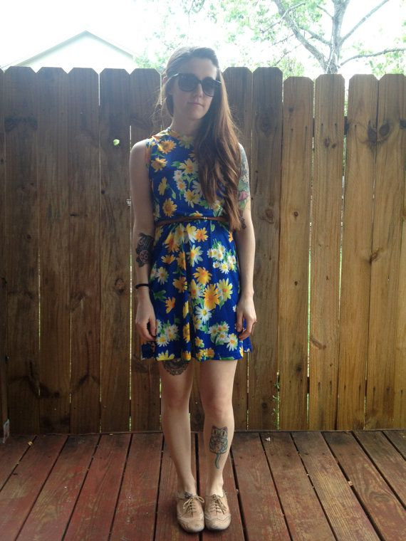 Vintage 70s Blue Sleeveless Mini Dress with by AllTheMissingPieces, $25.00