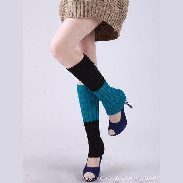 Fashion Winter warm 2 Block color knit Crochet Leg warmer for Women ...