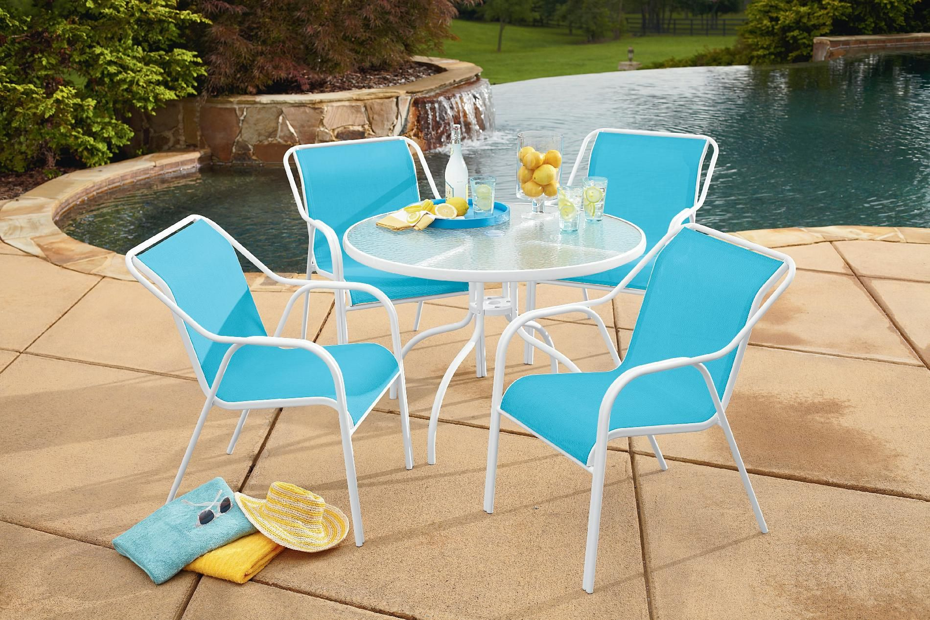 Excellent Garden Oasis Hamlin Steel 5 Piece Sling Patio Set Machost Co Dining Chair Design Ideas Machostcouk